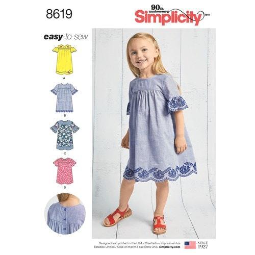 Simplicity 8619 A Barn storlek 3-8 Klänning