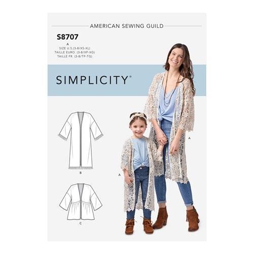 Simplicity 8707 A Dam / Barn storlek XS-XL/3-8 Kimono
