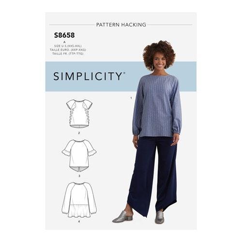Simplicity 8658 A Dam storlek XXS-XXL Blus