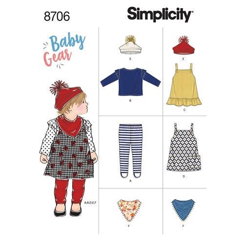 Simplicity 8706 A Barn storlek XXS-L Flera plagg