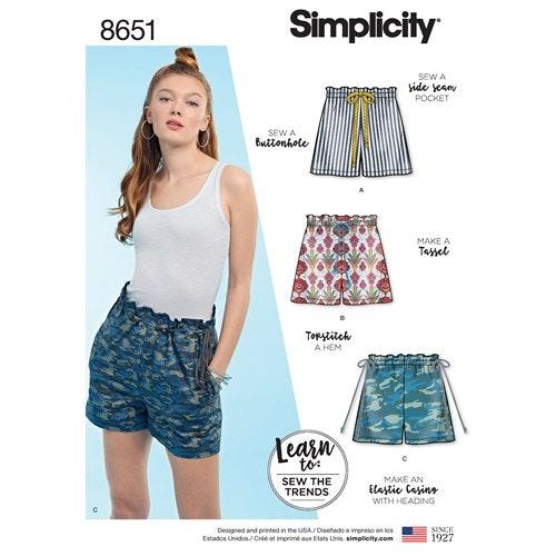 Simplicity 8651 A Dam storlek 32-44 Shorts / Kortbyxa