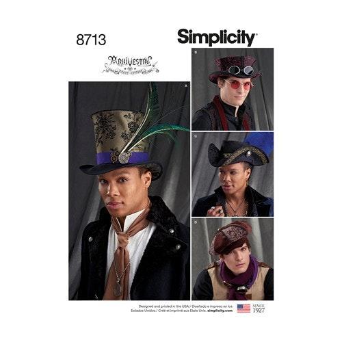 Simplicity 8713 A Herr Storlek S-L Hatt / Keps