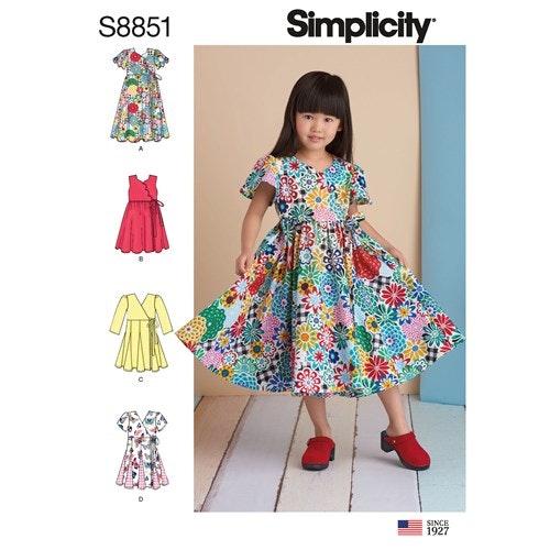 Simplicity 8851 A Barn Storlek 3-8 Klänning