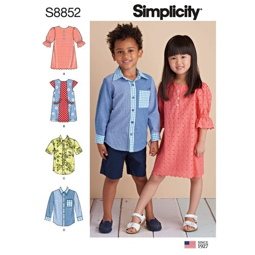 Simplicity 8852 A Barn Storlek 3-8 Flera plagg