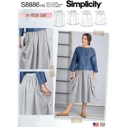 Simplicity 8886 H5 Dam Storlek 32-40 Kjol