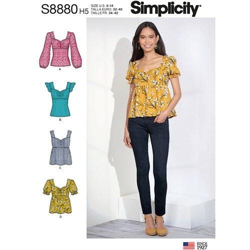 Simplicity 8880 H5 Dam Storlek 32-40 Blus Topp