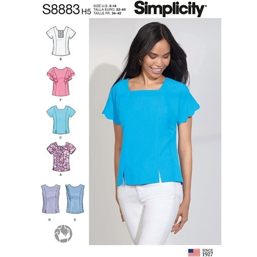Simplicity 8883 H5 Dam Storlek 32-40 Blus Topp