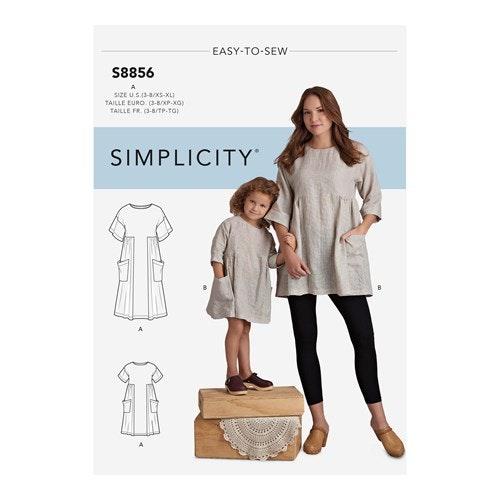 Simplicity 8856 A Barn / Dam Storlek 3-8 / XS-XL The Artisan Dress
