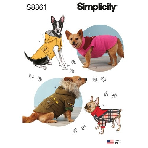 Simplicity 8861 A Djur Hundkläder storlek S-L