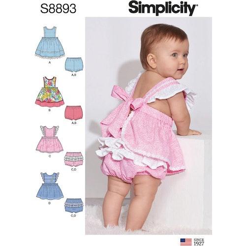 Simplicity 8893 A Barn Baby Storlek XXS-L Flera plagg