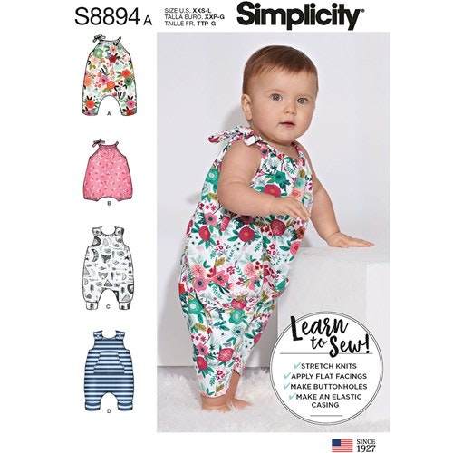 Simplicity 8894 A Barn Baby Storlek XXS-L Lekdräkt