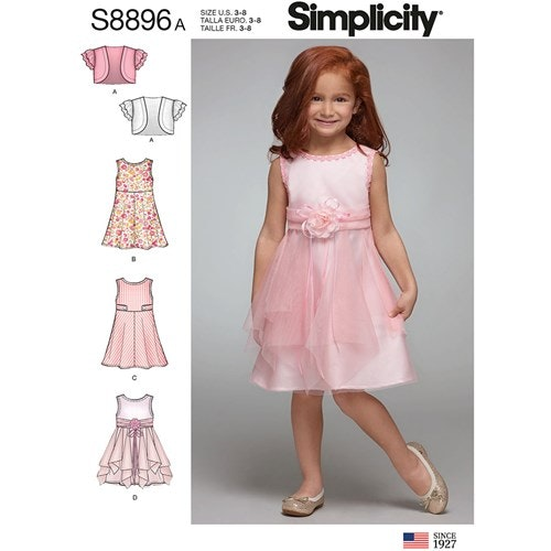 Simplicity 8896 A Barn Storlek 3-8 Klänning Bolero