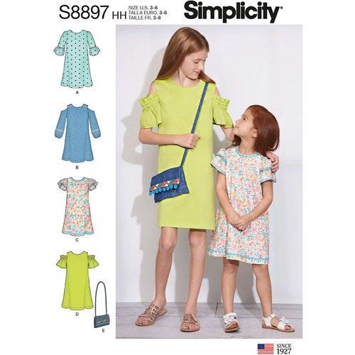 Simplicity 8897 HH Barn Storlek 3-6 Klänning Väska