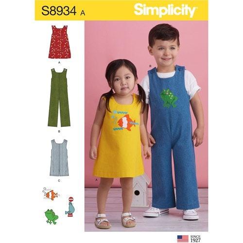 Simplicity 8934 A Barn Storlek 1/2-4 Flera plagg