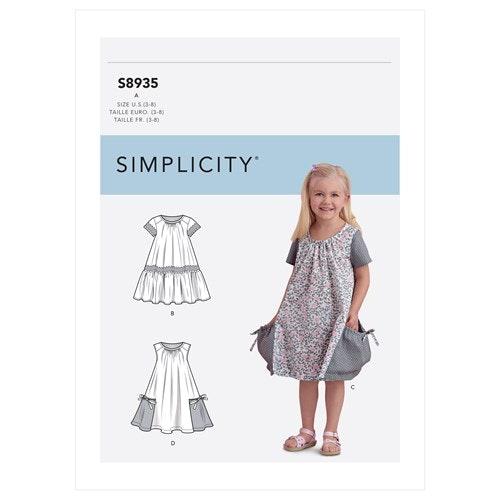 Simplicity 8935 A Barn Storlek 3-8 Klänning