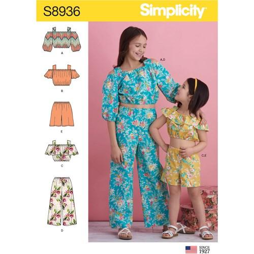 Simplicity 8936 K5 Barn Storlek 7-14 Flera plagg