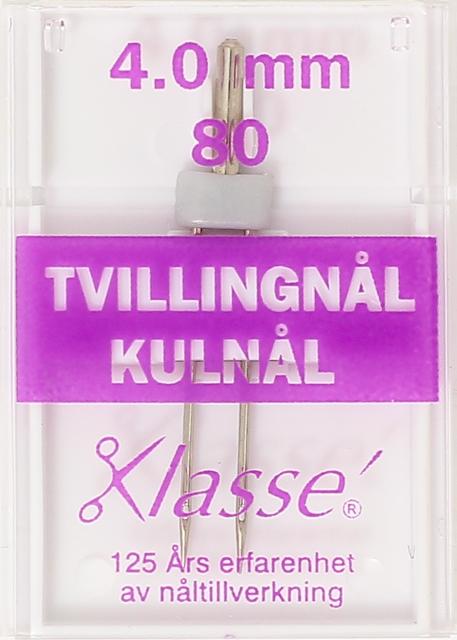 Nål - KLASSÉ Tvillingnål GRÅ 4mm Kulnål 80