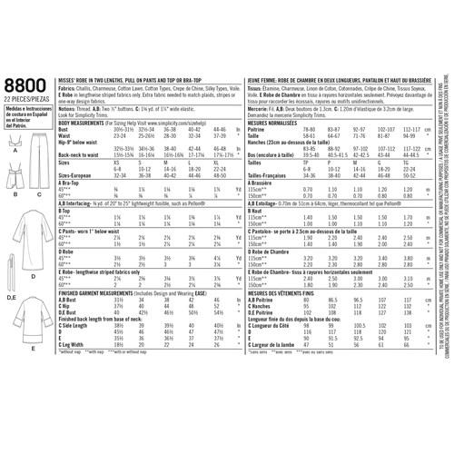 Simplicity 8800 A Dam Storlek XS-XL Flera plagg