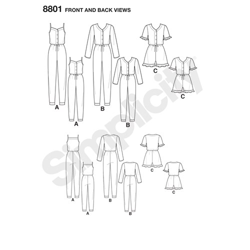 Simplicity 8801 A Barn / Dam Storlek S-L / XS-XL Flera plagg