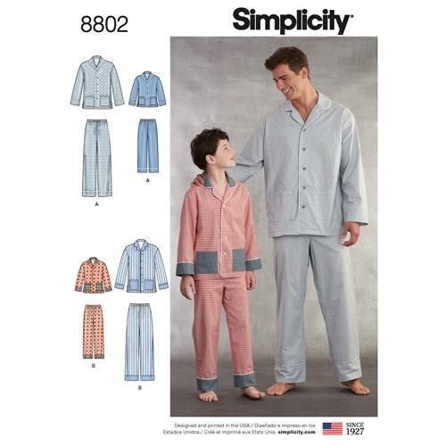 Simplicity 8802 A Barn / Herr Storlek S-L / XS-XL Flera plagg