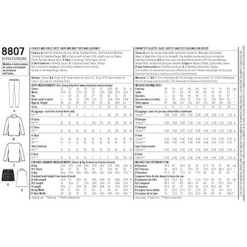 Simplicity 8807 HH Barn Storlek 3-6 Flera plagg