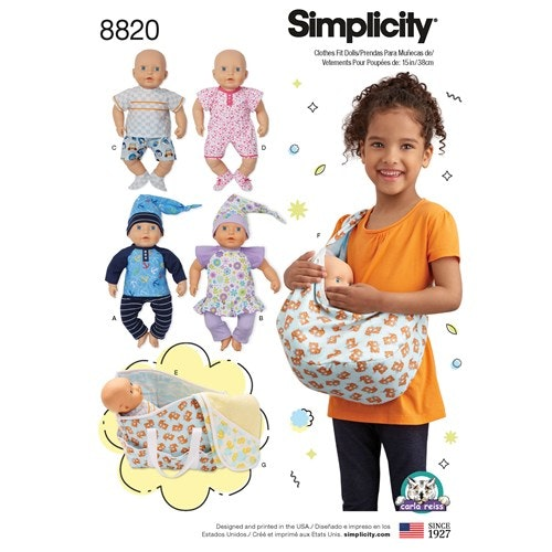 Simplicity 8820 OS Övrigt Dockkläder 38 cm