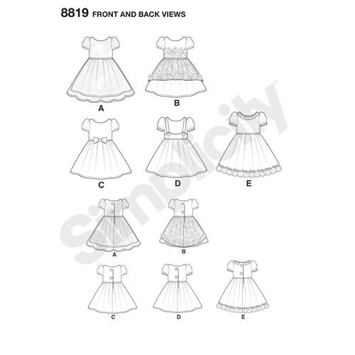 Simplicity 8819 OS Övrigt Dockkläder 35,5 cm