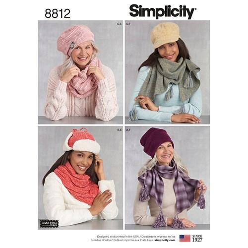 Simplicity 8812 A Dam Mössor Scarf