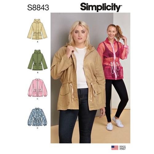 Simplicity 8843 AA Dam Storlek XXS-M Jacka