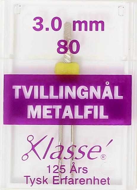 Nål - KLASSÉ Tvillingnål GUL 3mm METALFIL 80