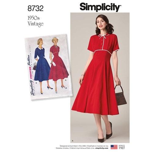 Simplicity 8732 U5 Dam Klänning Storlek 42-50 Vintage