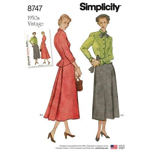 Simplicity 8747 U5 Dam Dräkt  Storlek 44-52 Vintage