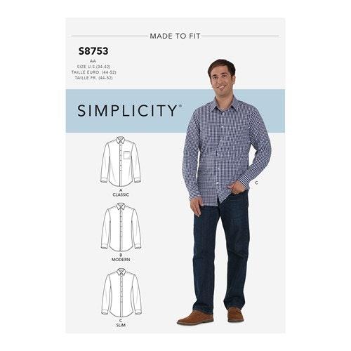 Simplicity 8753 AA Herr Skjorta storlek 44-62