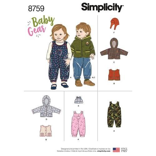 Simplicity 8759  A Baby Flera plagg Storlek 1-18 månader