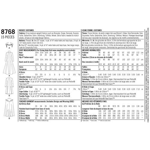 Simplicity 8768 H5 Medeltidskläder Storlek 32-40