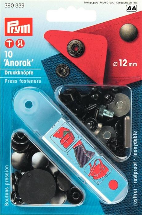 Prym Tryckknappar ANORAK 12 MM BRASS svart 390339