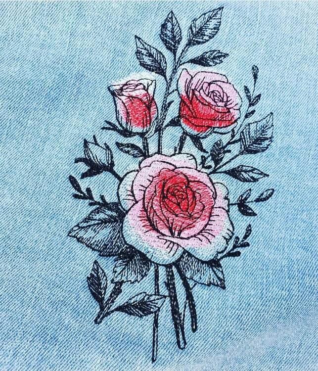 Inspiration Kundbild Broderi på jeansjacka , broderad på Alfa Crea