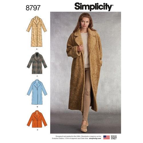 Simplicity 8797 A Fodrad Kappa i lössittande model i fyra längder Storlek 32-50