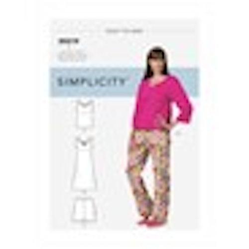 Simplicity S9219 Nattlinne/pyjamas i stl XS-XL