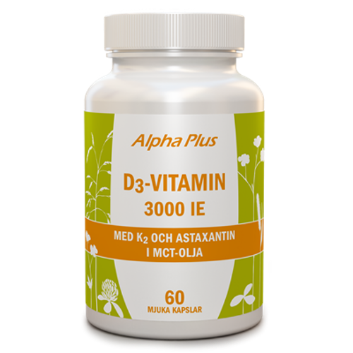 D3-vitamin 3000 IE + K2 60 kapslar