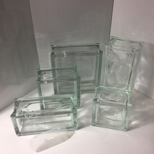 Glasblock/Glasvas liggande 9x20cm Klar