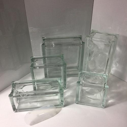 Blå Glasblock/Glasvas 19x19cm Klar med våg