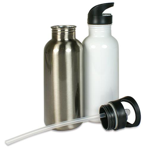 Vit Stålvattenflaska - 600ml