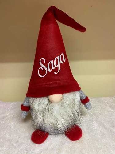 Stor jultomte  - Med namn i glitter