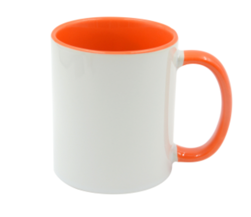 Mugg 80mm Vit med Orange insida