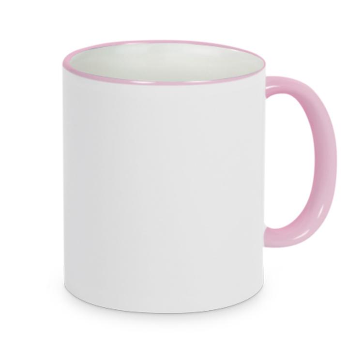 Mugg 80 mm Vit med rosa rand