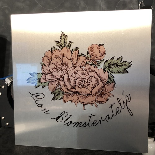 ChromaLuxe aluminium photo panel brushed silver, 298 x 298 x 1.15 mm