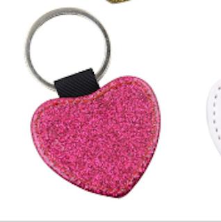 Nyckelring med glitterhjärta _Rosa 5 - pack