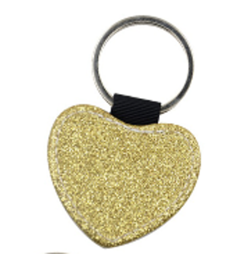 Nyckelring med glitterhjärta _Guld 5 - pack