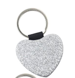 Nyckelring med glitterhjärta _Silver 5 - pack